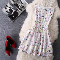 Organza Fashion Print Sleeveless Dress-11