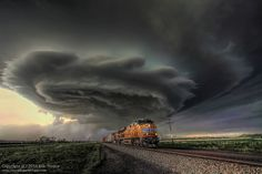 Union Pacific 7698 and Supercell Storm