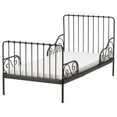 MINNEN Ext bed frame with slatted bed base - black-brown - IKEA