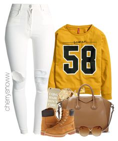 """Sporty swag fall outfit"" by cherrysnoww ❤ liked on Polyvore featuring H&M, Sonix, (+) PEOPLE, Michael Kors, Givenchy, Timberland, Kate Spade, Fall, swag and autumn"