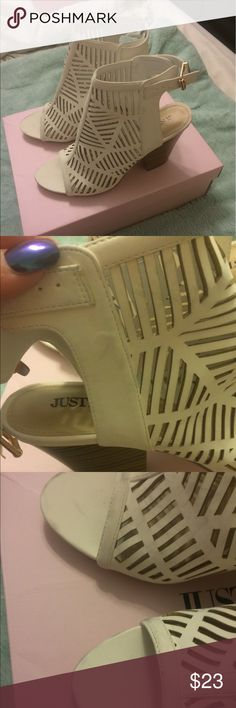 """JustFab Strappy White Booties Size 9 Worn twice, and has a few scuffs here and there. They are in really good shape overall! I would guess the heel is about 2.5"""". JustFab Shoes Ankle Boots & Booties"""