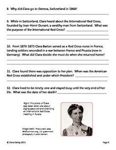 Clara Barton Biography Reading Comprehension Worksheet   Lesson ...