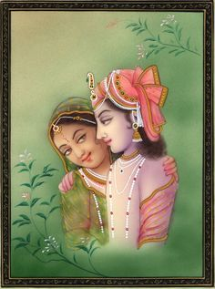 """Krishna Radha Indian Hindu Deity Art Handmade ~ """"Close and Together"""" captures the essence of the Hindu God Krishna & Radha, who are captured up close and together and expressing pure love. Krishna's relationship with Radha, his favorite among the 'gopis' (cow-herding maidens), has served as a model for male and female love, and since the 16th Century appears prominently as a motif in North Indian paintings."""
