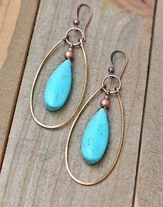 8ca435f8058b Brilliant blue turquoise magnesite teardrops with a hammered copper hoop.  These are a great addition