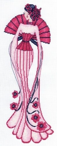 0 point de croix femme en robe de soirée rose et éventail - cross stitch lady in pink evening dress and fan