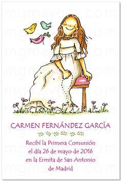 Recordatorio Primera Comunión niña sentada Fictional Characters, Simple Reminders, First Holy Communion, Families, Hand Made, Drawings, Fantasy Characters