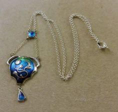 Antiques Atlas - Antique Enamel Art Nouveau Blue Silver Pendant