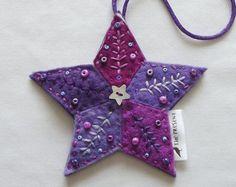 Star Decoration: Handmade, Felt, Christmas, Ornament, Christmas Tree Star, Christmas Tree Topper, Xmas
