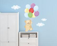 Adesivi Murali Bambini, Decorazioni Camerette, Kit Orsetto con i palloncini…