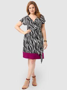 Geneva Wrap Dress In Zebra Print by Igigi. Plus Size FashionCurvy ... e00481666