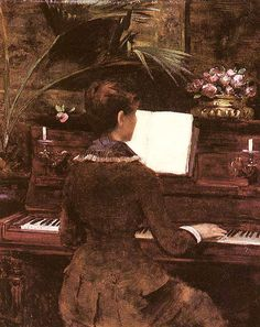 Louise Abbema  Title: With The Piano  Buy this painting's premium quality canvas art print from ModArty.com #art, #canvas, #design, #painting, #print, #poster, #decoration