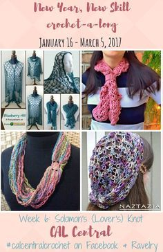New Year, New Skill Crochet-a-Long with CAL Central - Week 6: Solomon's (Lover's) Knot featuring free crochet patterns by Stitches 'n' Scraps, Naztazia, Kaleidoscope ArtNGifts, and M2H Designs