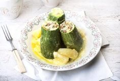 Stuffed zucchini with lemon sauce by argiro Lemon Sauce, Cooking Recipes, Healthy Recipes, Food Categories, Mediterranean Recipes, Greek Recipes, Food To Make, Food Porn, Dinner Recipes