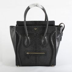 Celine Boston Smile Tote Snakeskin Handbag 98170 black - CELINE handbags - Replica Handbags