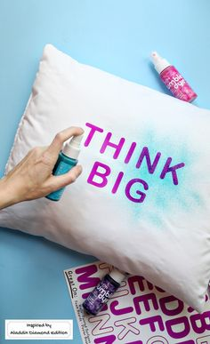 Celebrate girl power with this quick stencil pillow DIY – just add spray dyes and sticker letters for a quick craft project.