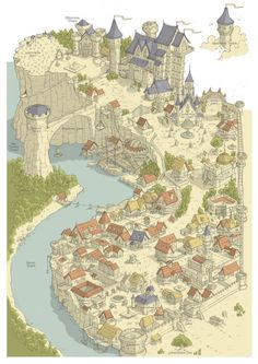 a collection of inspiration for settings, npcs, and pcs for my sci-fi and fantasy rpg games. Fantasy City Map, Fantasy Town, Fantasy Castle, Medieval Fantasy, Fantasy Map Making, Fantasy World Map, Dungeons And Dragons, Rpg Map, Dungeon Maps