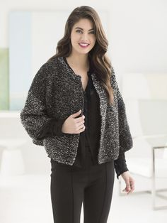 The knit Licorice Cardigan uses two of your favorite yarns: Shawl in a Ball & Vanna's Choice (shown in Black & Feng Shui Grey). Multiple sizes available! Make with size 11 [8 mm] needles.