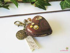 porte clés macaron cœur marron pâte polymère fimo bijou de sac grand modèle PCG23 STEAMPUNK : Porte clés par lutinette40