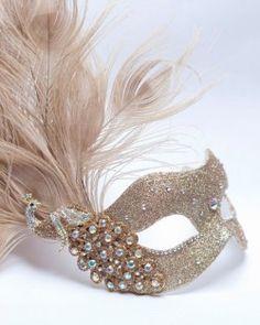 Luxury Gold Peacock Swarovski Crystal Venetian Mask b