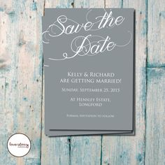 Slate Grey and White Save the Date // Simple // Wedding Invitation // Classic // DIY Printable // Premium Printing Available