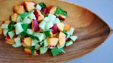 Nectarine Basil Cucumber Salad AIP Lifestyle (or apricot or plum for lower fructose) paleo protocol Whole Food Recipes, Vegetarian Recipes, Healthy Recipes, Nectarine Salad, Autoimmune Paleo, Side Dish Recipes, Paleo Diet, Healthy Eating, Cucumber Salad
