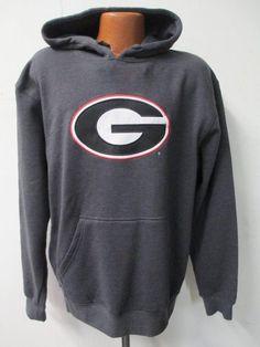 Georgia Bulldogs Mens Large Majestic Embroidered Hooded Sweatshirt HH 8687 #Majestic #UniversityofGeorgiaBulldogs