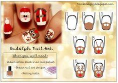 Rudolph Nail Art Tutorial .x.  http://naildeesignz.blogspot.co.uk/2013/12/santa-his-reindeer-nail-art.html