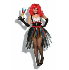 You won't be laughing when this haunting harlequin sets her sights on you. The Adult Evil Girlie Clown Costume is one part scary and two parts sexy perfect for your next Halloween party! Set includes a bowtie bodysuit belt with suspenders and a tutu. Shop on our online store for more great deals on costumes and accessories! Hand Wash Cold Water; Do Not Bleach; Dry Flat; Do Not Iron