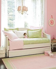 Pottery Barn: Madeline Daybed & Trundle.  Bed placement.