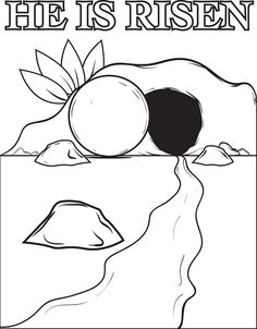 Easter coloring page for kids of the resurrection of Jesus and the stone rolled away from the tomb. http://www.mpmschoolsupplies.com/ideas/4593/the-resurrection-of-jesus-christ-coloring-page/