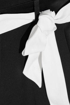 Karl Lagerfeld - Satin-trimmed Belted Crepe Jumpsuit - Black - IT48