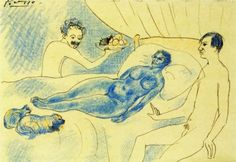 A parody of Manet's Olympia with Junyer and Picasso - Pablo Picasso