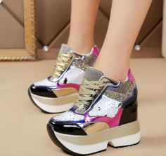 Womens Bling Sequins Multi Color Lace Up Casual Wedge Running Hidden Casual Shoe Punk Shoes, Casual Shoes, Ankle Boots, Sequins, Lace Up, Platform, Bling, Wedges, Running