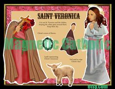 St Veronica and her veil from Christ's passion by magneticcatholic, $12.00