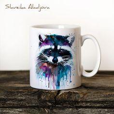 Raccoon Mug Watercolor Ceramic Mug Unique Gift Coffee Mug Animal Mug Tea Cup Art Illustration Cool Kitchen Art Printed mug by SlaviART on Etsy https://www.etsy.com/listing/253074502/raccoon-mug-watercolor-ceramic-mug