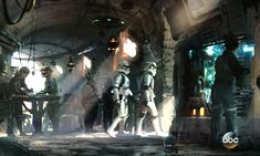 Disney Star Wars concept art of Stormtroopers on a street