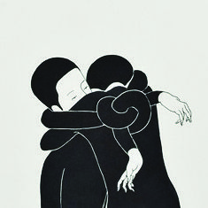 <<Y entonces los cuerpos se superponen, nos enredamos en conflictos motores, la tension de no poder (re)tenerte hace de mi un hilo que se autoconduce a tu cuerpo.>> art Daehyun Kim - Moonassi drawings