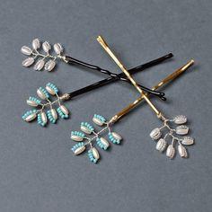 Wedding hair pins bridal headpiece fern hair pins beaded by Artual