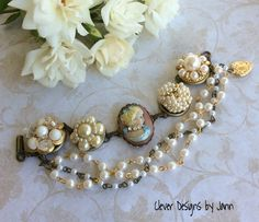 Vintage Flair Bracelet .. components I used are a Brass Bezel Bracelet Chain, Cameo, Heart Charm, Pearl Rosary Chain and Vintage Pearl Earrings are perfect for this Vintage Bracelet .. Clever Designs by Jann .. FOR SALE .. $45.00 https://www.etsy.com/shop/CleverDesignsbyJann