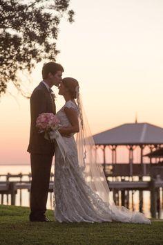 Love this shot by the bay // Lauren Elizabeth Lambuth & Peter Ryan Dempsey - Mobile Bay - Mobile Bay Bride 2014 - Alabama