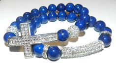 2pc Cross and Pave Bar Stretch Gemstone Bracelet Set (Various gemstones) by NGeniousCreations, $40.00