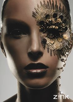 Steampunk Makeup Inspiration (jewels and glue, dark lips, black eyeliner)