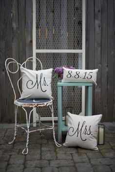 Mr. & Mrs. Custom Pillow Cover with Wedding Date by SoVintageChic