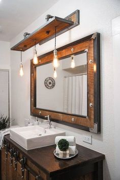 Rustic Industrial Light - Raw Steel & Barn Wood Vanity Light Specifications: - Overall Dimensions: Wide x Deep x high (w/o bulb) - Bulbs: 3 (included) - Bulb Type: Edison - 60 Watt…More 50 Easy Industrial Bathroom Decor Plans To Complement Your City Digs Diy Bathroom, Rustic Lighting, Rustic Bathroom Designs, Rustic Industrial Lighting, Industrial Bathroom Decor, Rustic Bathroom Vanities, Bathrooms Remodel, Bathroom Design, Rustic House