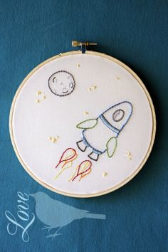 Love The Blue Bird: Outer Space - Embroidery Pattern... This would be cute on the wall or on a pillow.