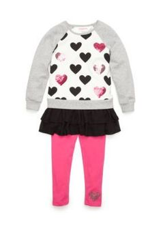 Flapdoodles  Sequin Hearts French Terry Dress and Legging Set Toddler