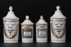 4 FRENCH PORCELAIN APOTHECARY JARS : Lot 259