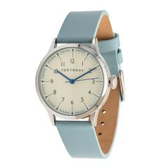 A smaller version of our Scala watch. This beauty offers the same soft leather watch band in a variety of rich unique colors. Blue hour and minute marke. Crown And Buckle, Leather Watch Bands, Stainless Steel Case, Smooth Leather, Light Blue, Quartz, Watches, Lady, Accessories