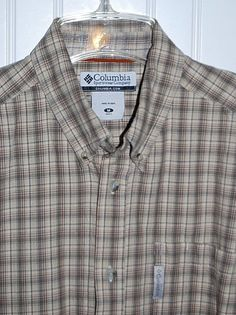 Columbia Men's Medium Plaid Long Sleeve Button Front Cotton Flannel Shirt  #Columbia #ButtonFront
