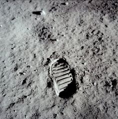 On July 20, 1969, Neil Armstrong put his left foot on the rocky Moon. It was the first human footprint on the Moon. They had taken TV cameras with them. The first footprints on the Moon will be there for a million years. This photograph was taken by Buzz Aldrin.